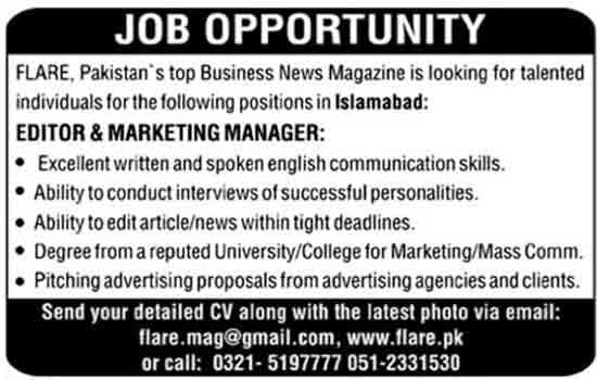 Flare Pakistan Islamabad 9 February 2017 JOb