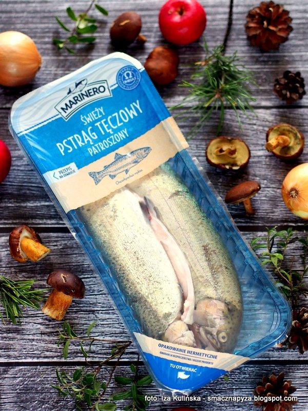 nasz pstrag, swieza ryba, ryby, prosto z biedronki, pstrag marinero, obiad, ryba pieczona, grzyby, pstrag pieczony z grzybami