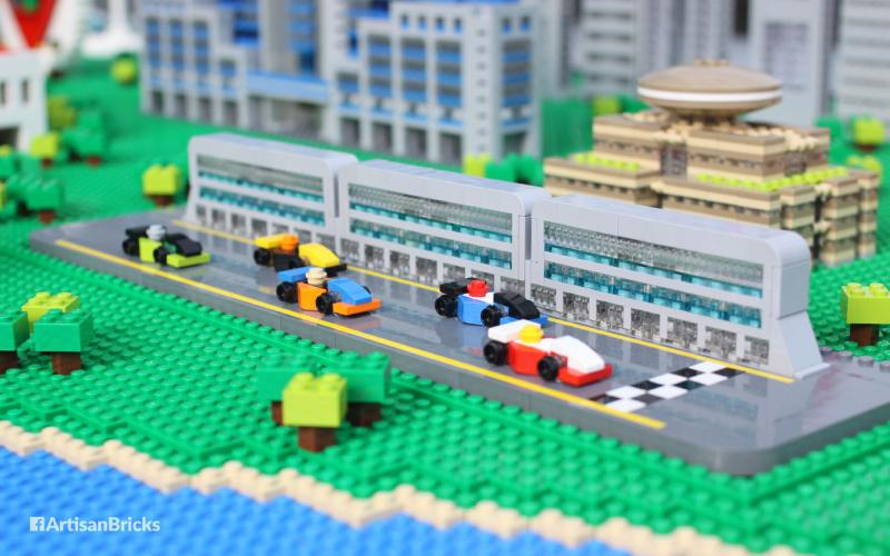 Brick rendition of the Singapore F1 Pit Building.