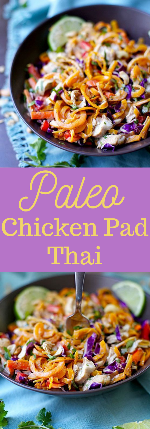 PALEO CHICKEN PAD THAI #paleo #whole30 #chicken #thai #healthydiet