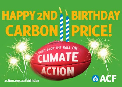 Happy birthday carbon price. Don't drop the ball on climate action.