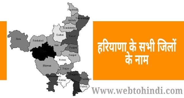हरियाणा के सभी जिलों के नाम | haryana all district name list hindi