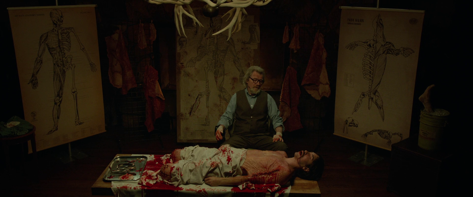 Michael Parks and Justin Long in Tusk (2014)