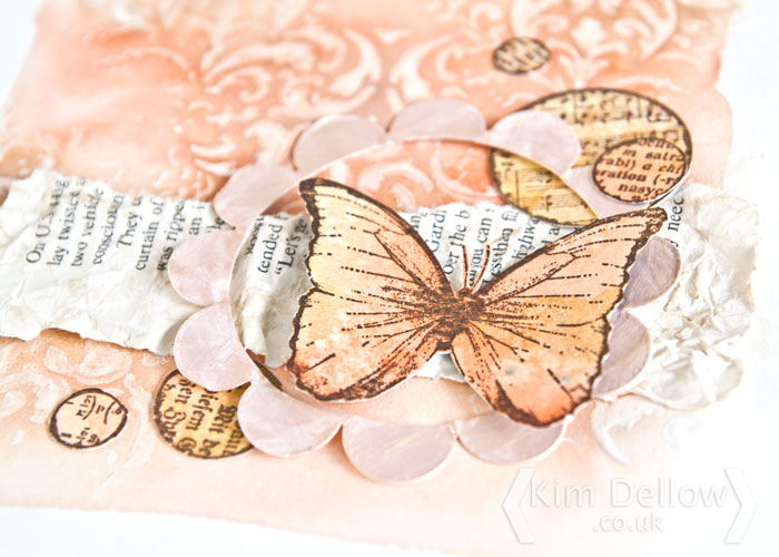 Close up of a Prima Marketing art journal page by Kim Dellow