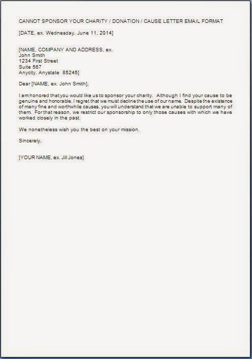How to write a donation rejection letter
