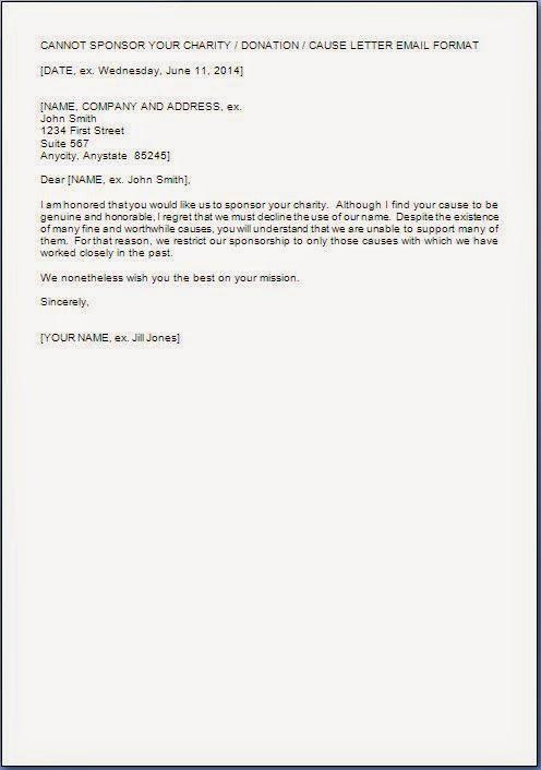 Sample Letter Decline Donation Request