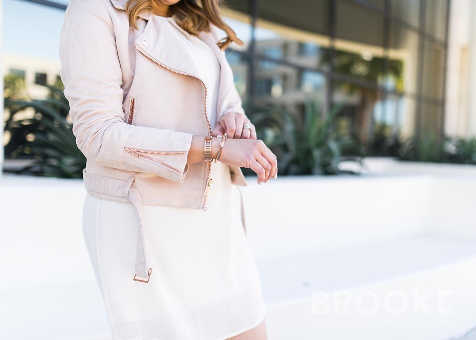 blush outfit, spring 2016 chic outfit, lc lauren conrad kohls collection, lauren conrad moto jacket, rose gold bracelets