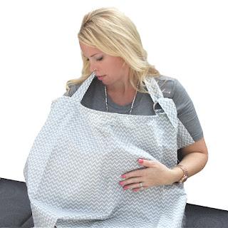 SavvyBaby Grey Chevron Nursing Cover img