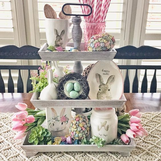 tiered tray styled for easter