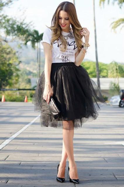 outfit falda tul negra corta