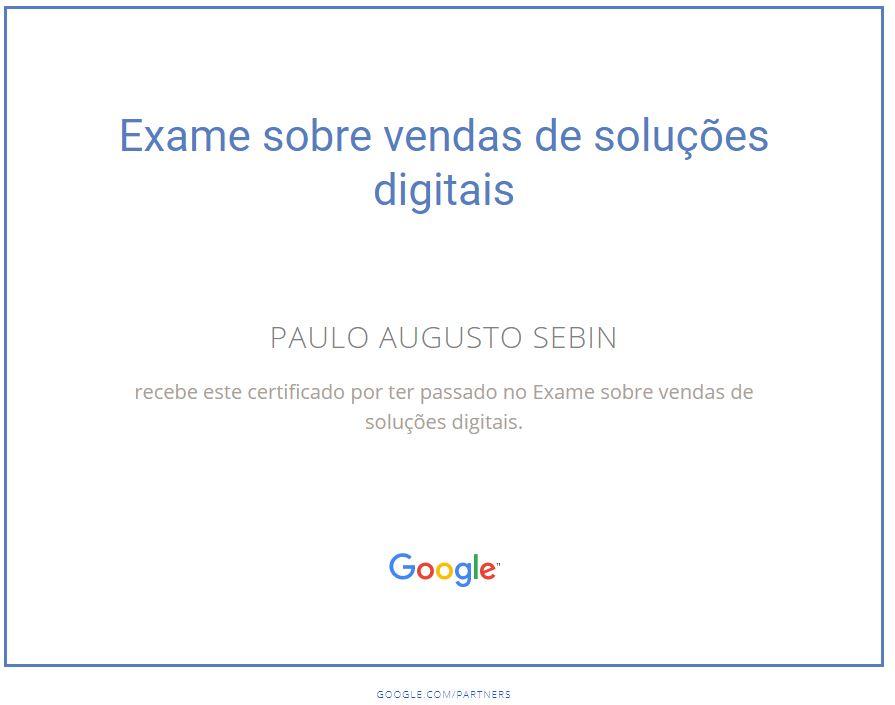 Certificado em vendas de soluções digitais Google