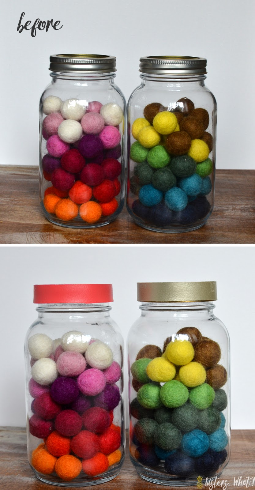 before and after of mason jar hack: colorful faux leather covered mason jar lid update
