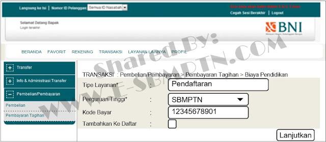 Cara Pembayaran Biaya Pendaftaran SBMPTN