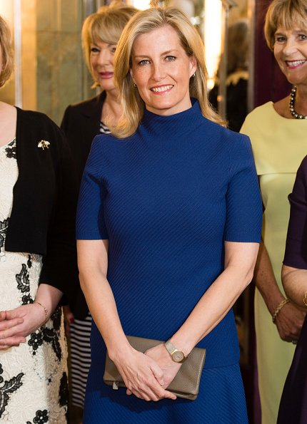 Countess Sophie attended the Mencap charity Lunch at Sheraton Park Lane Hotel. Countess wore Alexander McQueen midi dress Prada pumps