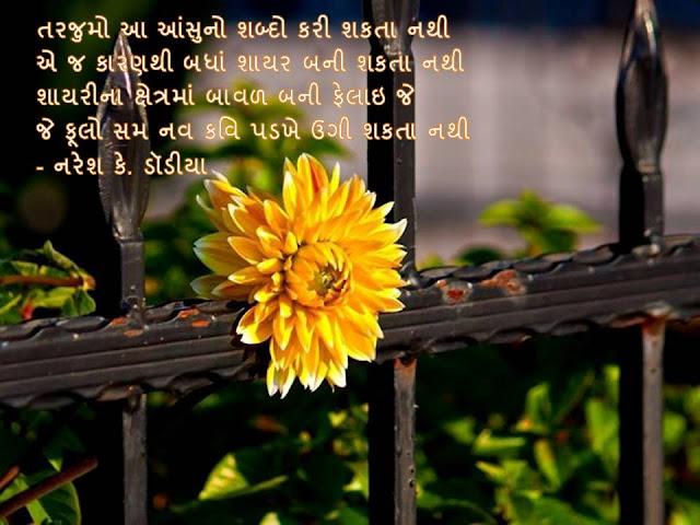 तरजुमो आ आंसुनो शब्दो करी शकता नथी Muktak By Naresh K. Dodia