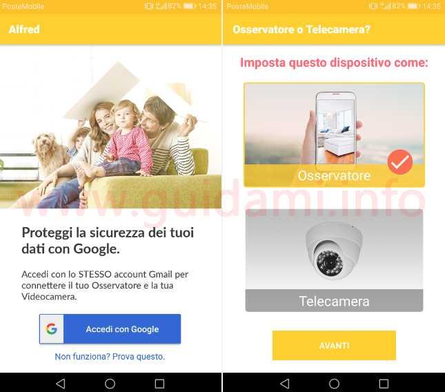 App Android Alfred accesso account Google e configurazione cellulare
