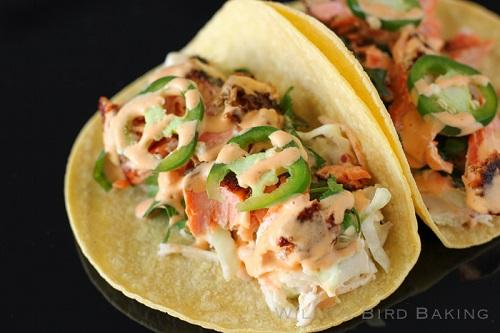 Salmon Tacos Cilantro Lime Slaw
