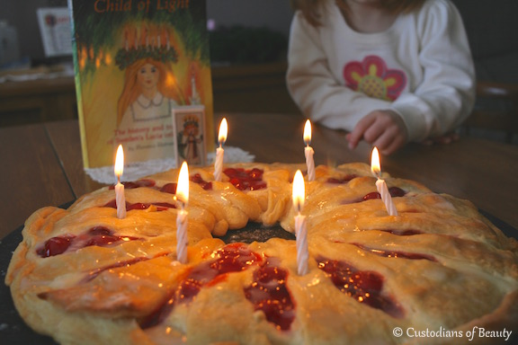 Feast of St. Lucy| Cherry Cheese Coffee Cake | by CustodiansofBeauty.blogspot.com