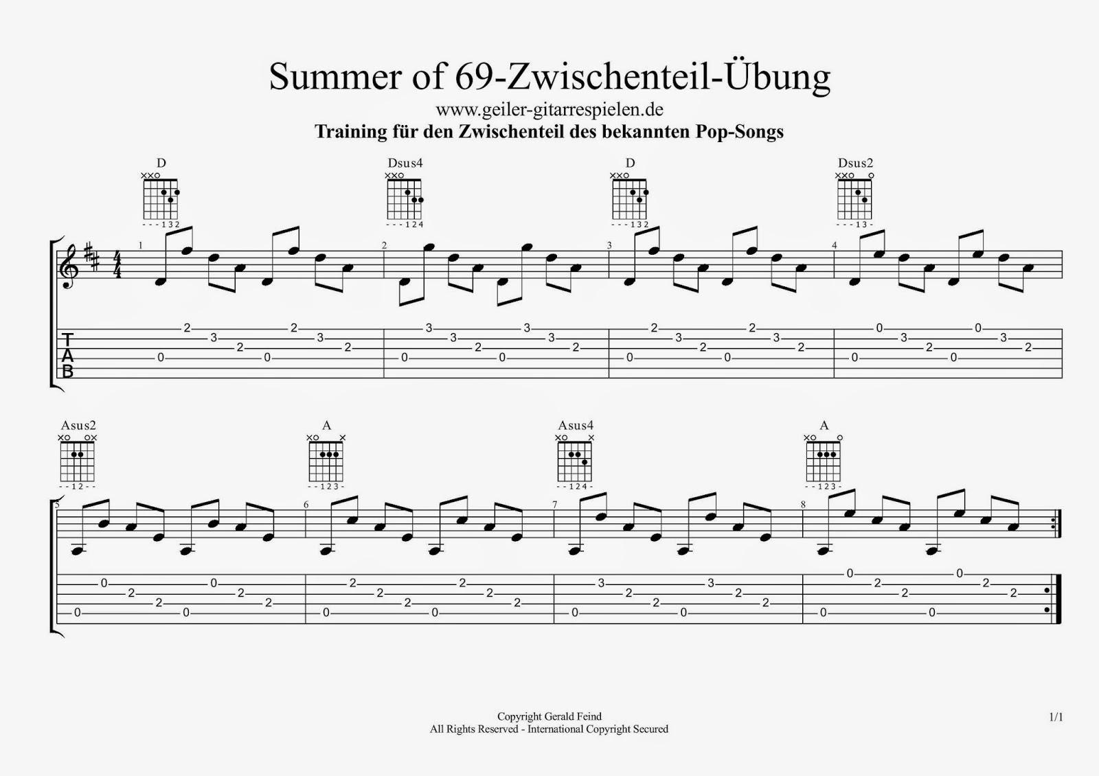 Die Gitarren Seite Summer of 15 Chords