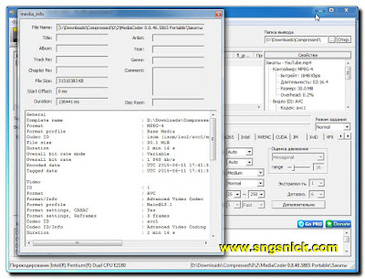 MediaCoder 0.8.46.5865 - Подробнее о выбранном файле