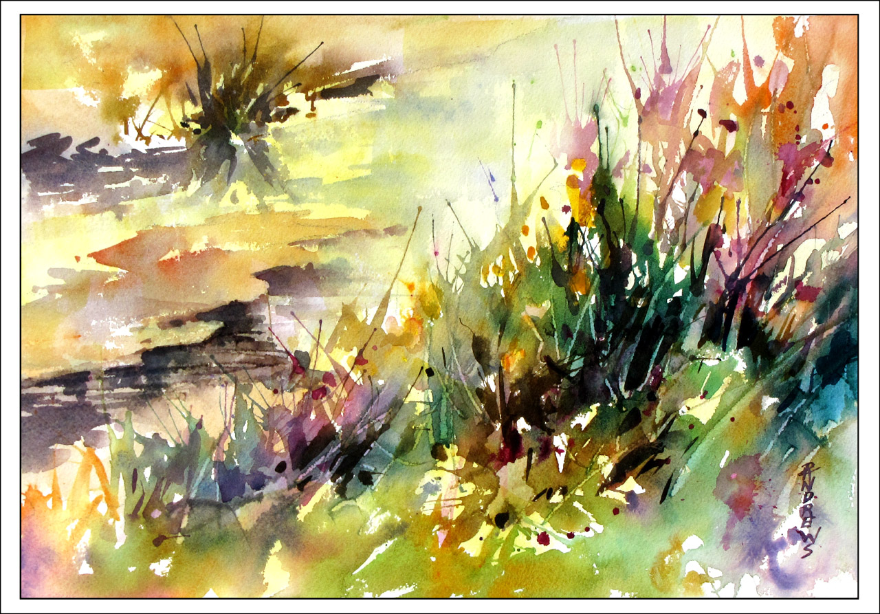 Watercolor artist in texas - Sun Kissed Stream Watercolor Landscape Texas Artist Rae Andrews
