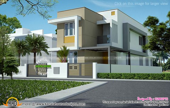 Flat roof house elevation