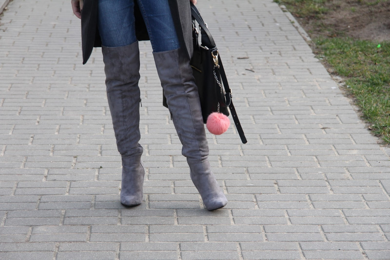 over the knee boots and pom pom