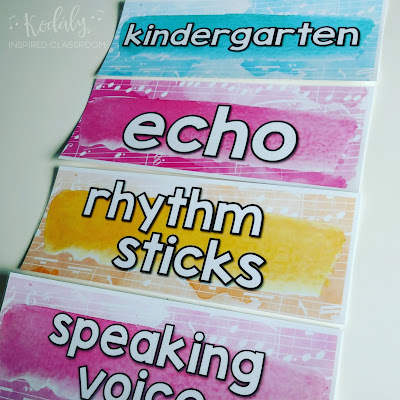 Music Word Wall - sort your music word wall by grade level so that kids can focus in on the words that pertain to them and not be so visually overwhelmed. Music Room Decor {Back to School Blog Hop} - elementary music room ideas