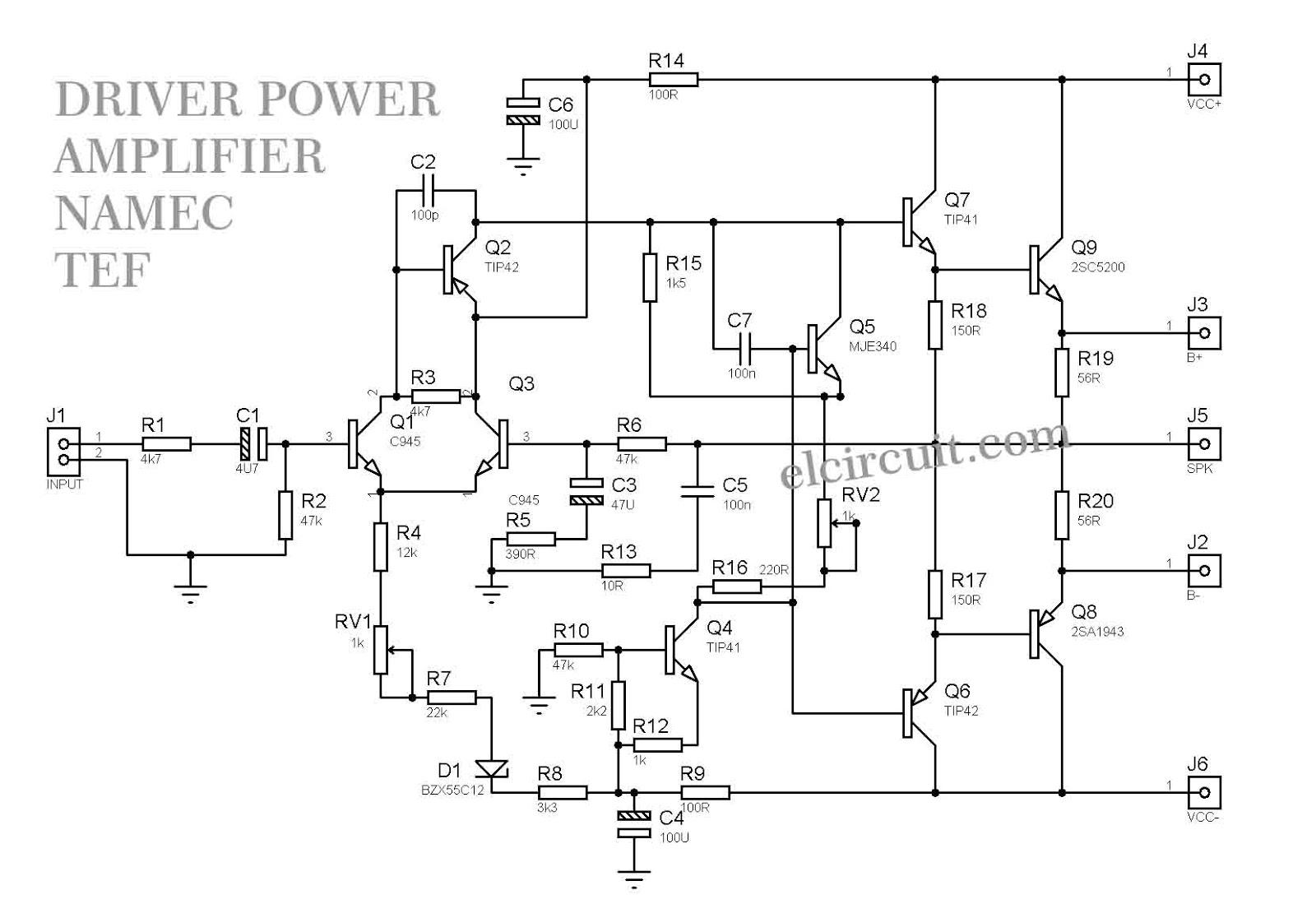 1000W Driver Power Amplifier Namec TEF Electronic Circuit