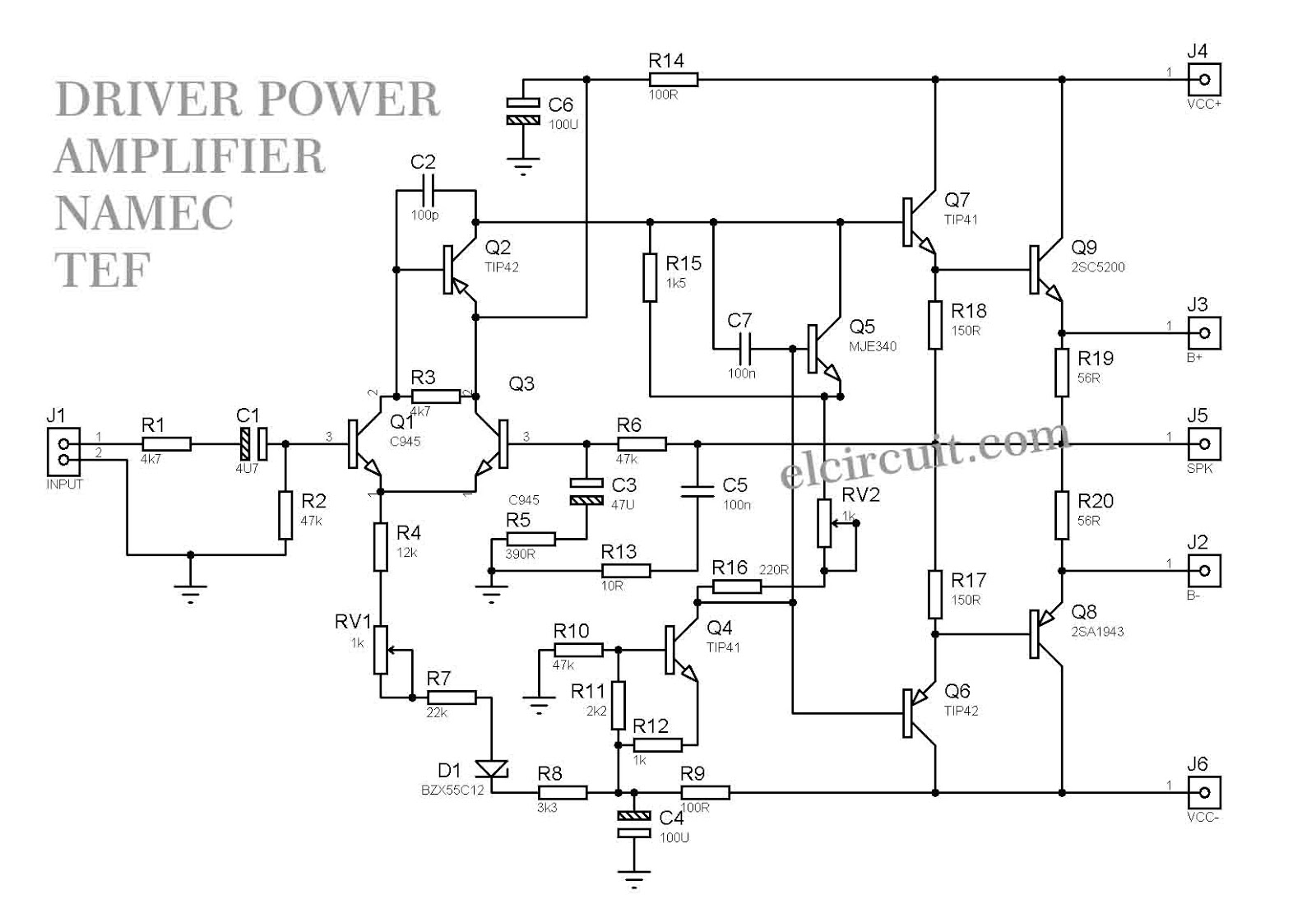 1000w Driver Power Amplifier Namec Tef Electronic Circuit Trim Pot Wiring Diagram Schematic