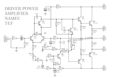 Circuit Diagram Schematic Driver Power Amplifier Namec TEF