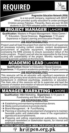 Progressive Education Network PEN Announced Jobs in Lahore