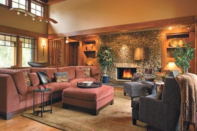 Sala de estar con chimenea salas con estilo for Caminetto ad angolo contemporaneo