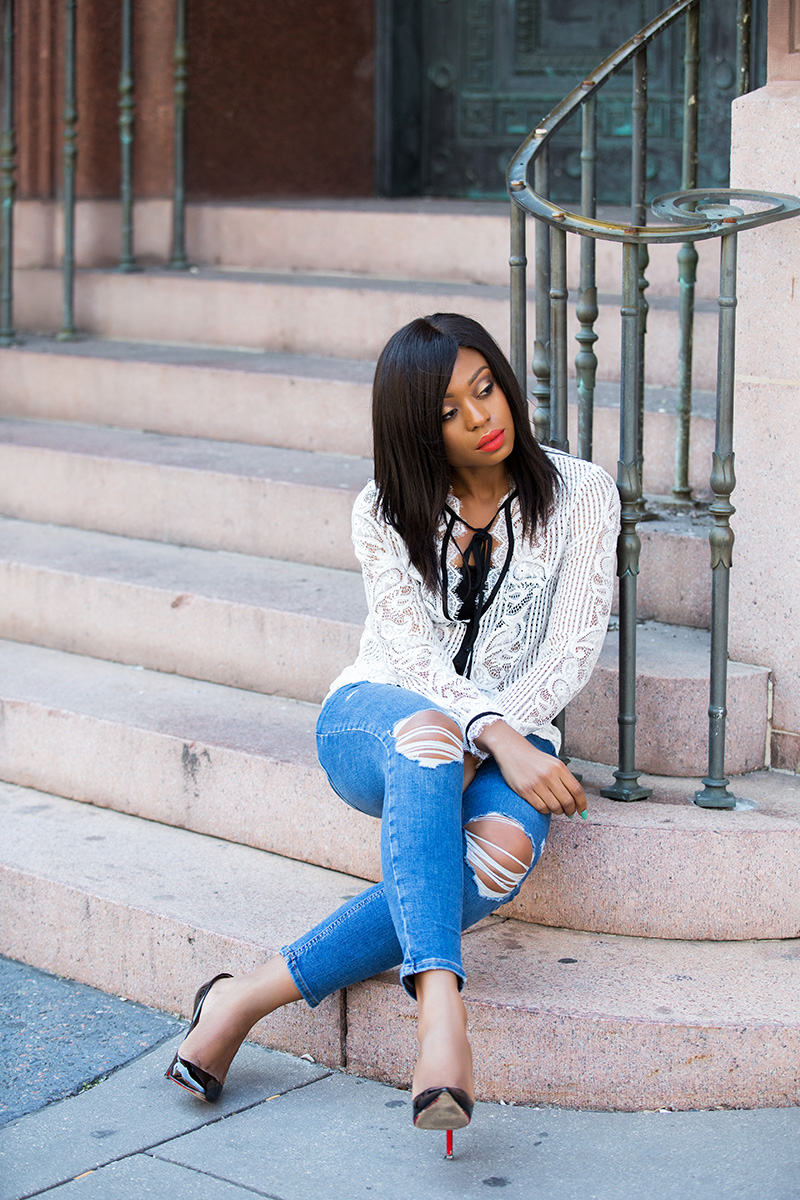 casual outfit, topshop skinny jeans, lace blouse, www.jadore-fashion.com