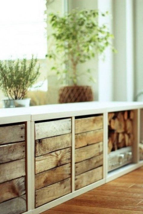 Ikea hack for Kallax shelving to make rustic chic storage - found on Hello Lovely Studio