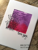 This image shows a handstamped card made with the Enjoy Life stamp set and Gorgeous Grape ink from Stampin' Up!