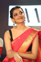 Kajal Aggarwal in Red Saree Sleeveless Black Blouse Choli at Santosham awards 2017 curtain raiser press meet 02.08.2017 060.JPG