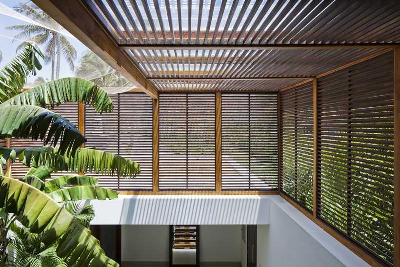 Wooden shades on the modern beach house