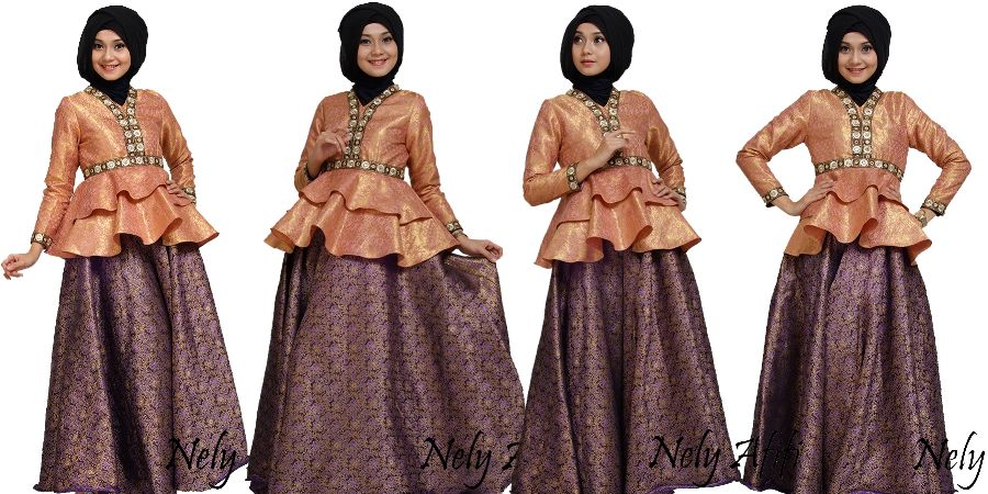 10 Baju Pesta Muslim Kombinasi Songket Mewah