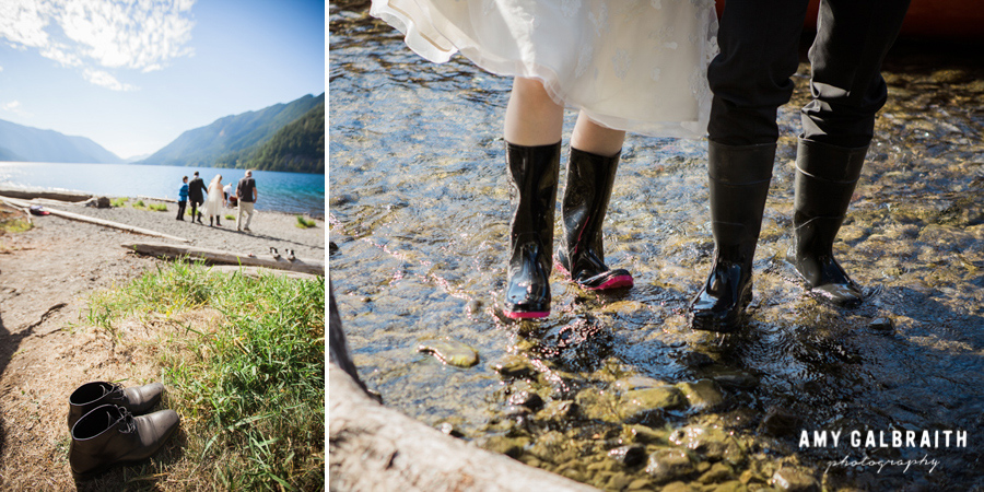 bride and groom wearing rain boots