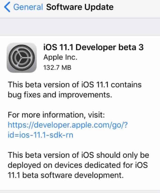 iOS 11.1 Beta 3 testing
