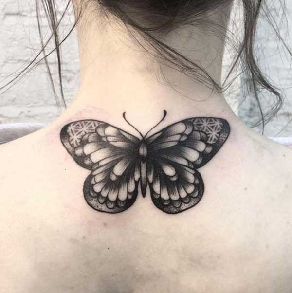 black butterfly tattoo for woman