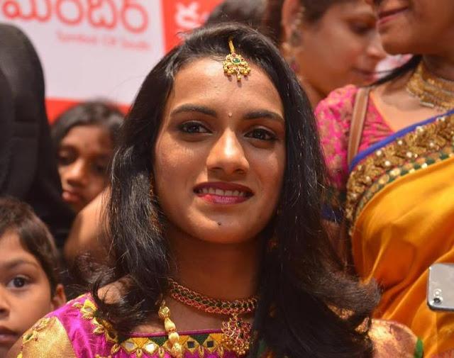 P V Singhu Spotted at Opening of Kalamandir 25th Store Beautiful in Silk Saree