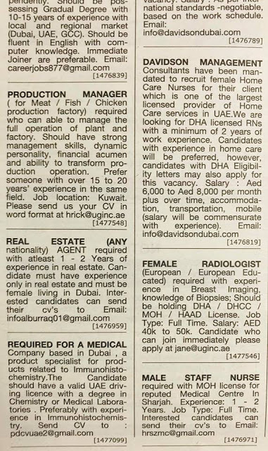 Al Khaleej times uae JOBS 28 February, 2019