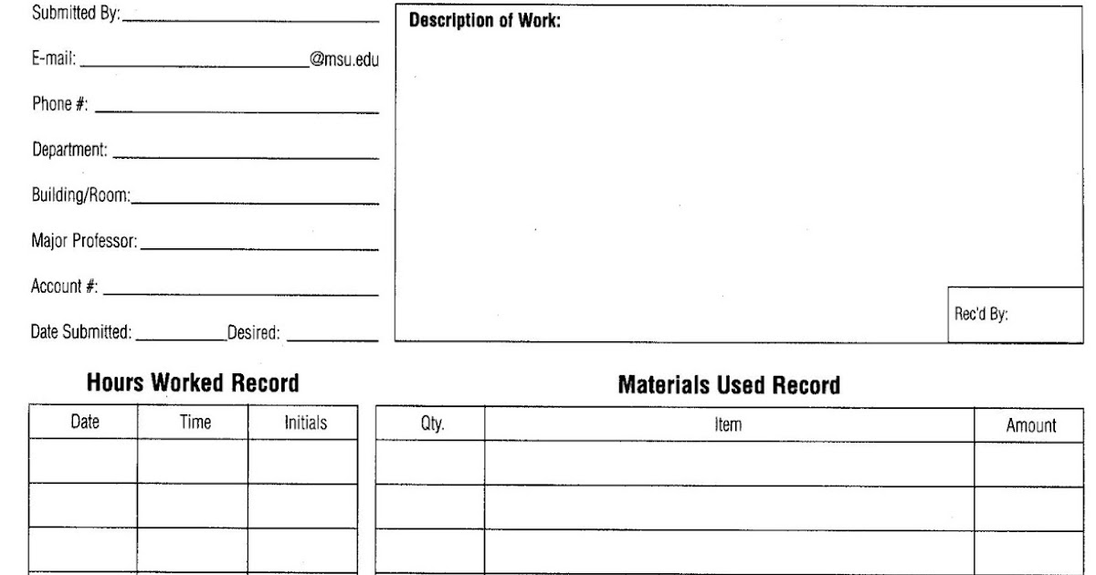 Download simple Work Order Template - Download Free Office Templates