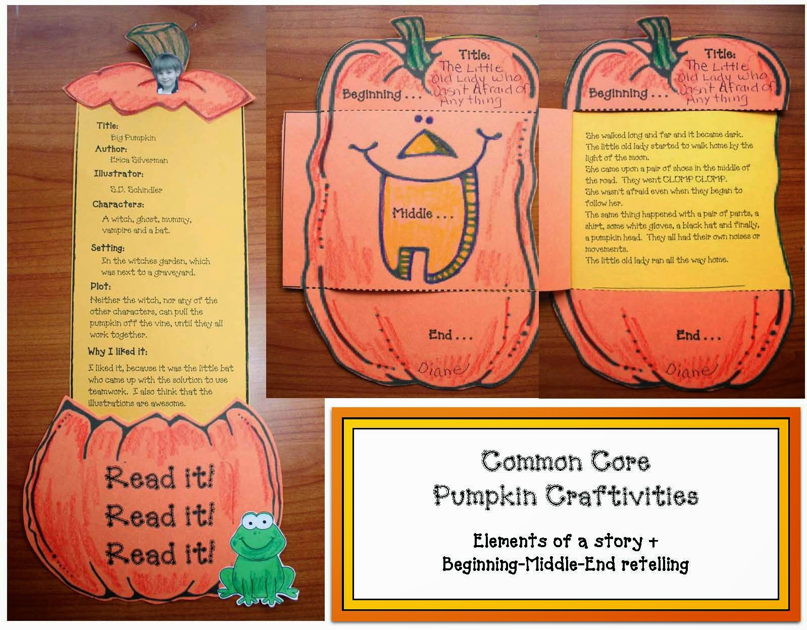 Classroom Freebies Common Core Pumpkin Craftivities For