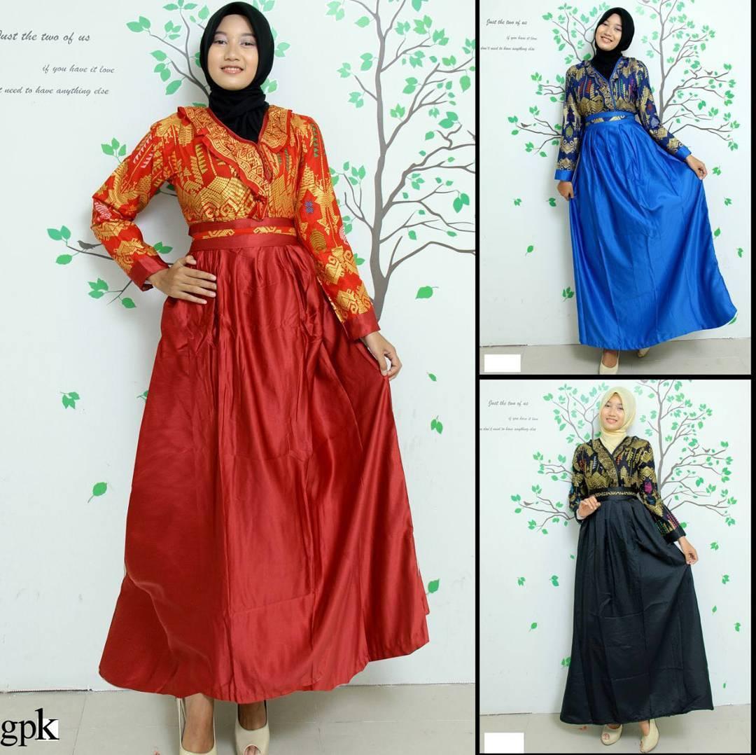 Kumpulan Model Gamis Batik Kombinasi Modern Simple Elegan
