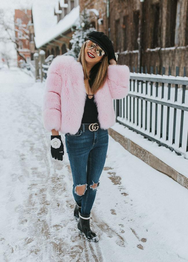 Pink Fur Coat, Faux Fur Coat, How to Style a Pink Fur Coat, Chicago Fur Coat Style, How to Style a Faux Fur Coat