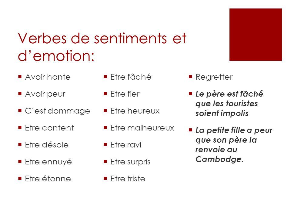 Les verbes de sentiments en français