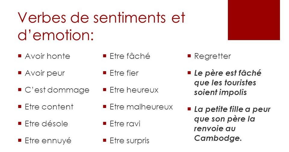 Les Verbes De Sentiments En Francais